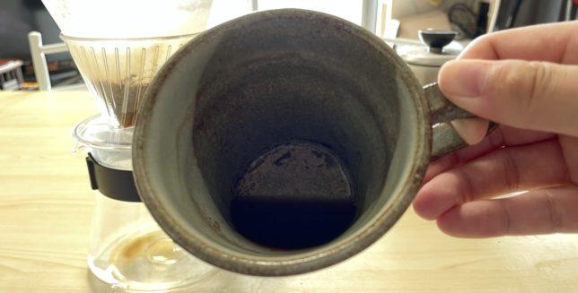 コーヒーの粉を蒸す際に落ちてきた水分